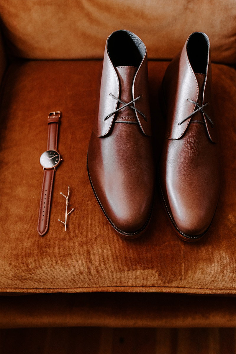 Groom's shoes and watch