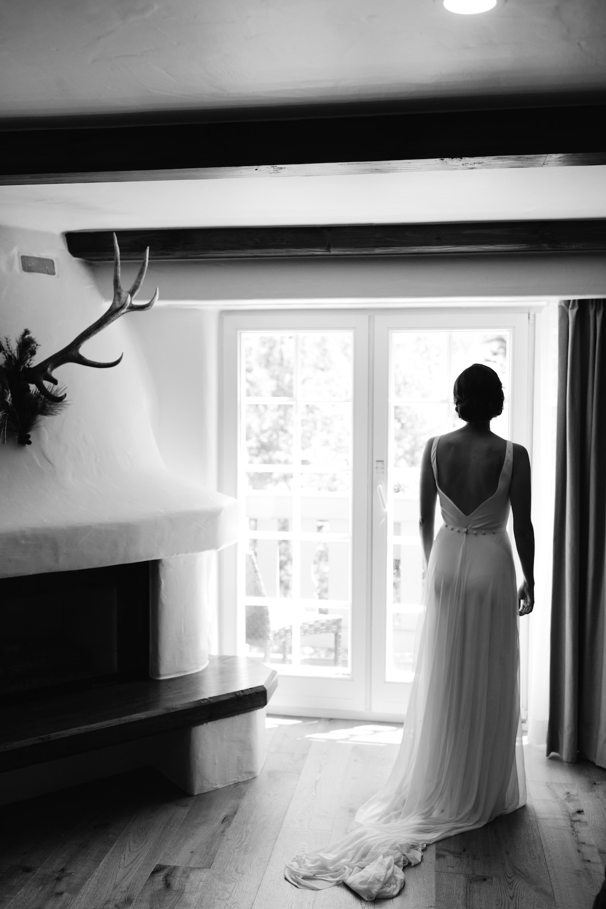 Bride taking a moment of reflection after getting ready