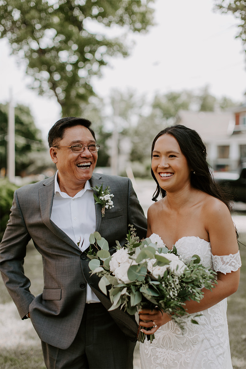 Portrait of bride and father