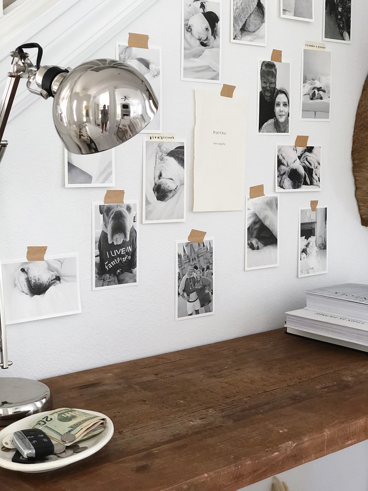 Wall with photo prints of dog taped up