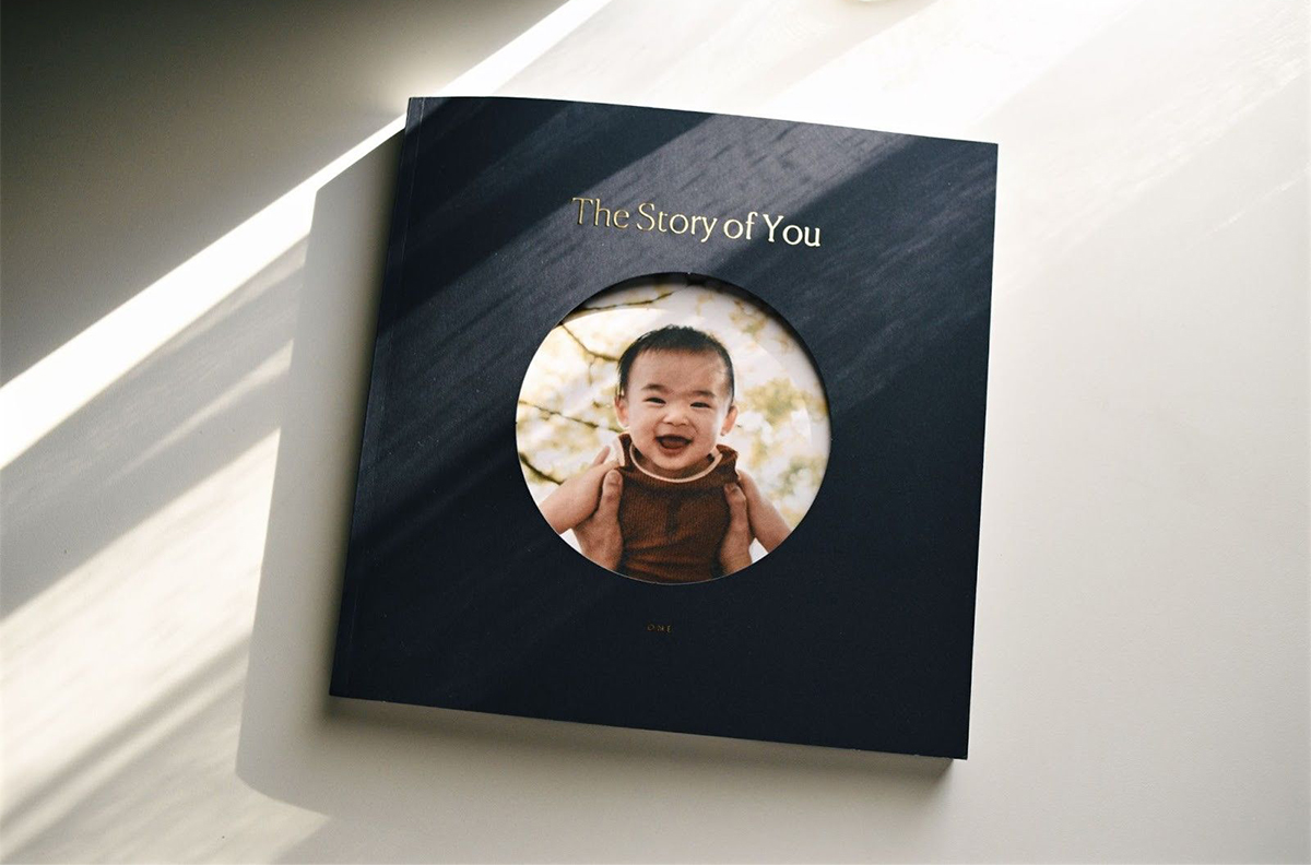 Artifact Uprising Color Series Photo Book titled The Story of You and featuring child's portrait on the cover