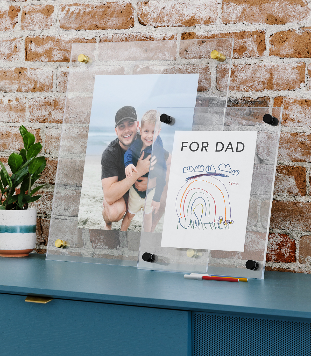 Artifact Uprising Floating Frame with words for dad featuring children's drawing of a rainbow and clouds